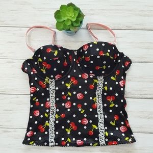 Flirtitude lips and cherries bustier size M